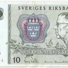 SUEDIA 10 COROANE 1981 VF - bancnota europa