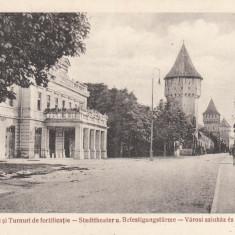 SIBIU, TEATRUL ORASENESC SI TURNURI DE FORTIFICATIE - Carte Postala Transilvania 1904-1918, Necirculata, Printata