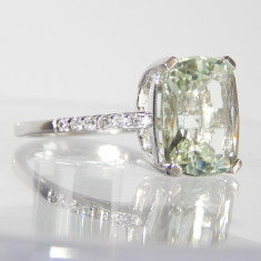 Inel aur alb 14k AMETIST verde 12*10mm de 5.10ct si diamante - Inel diamant, 46 - 56
