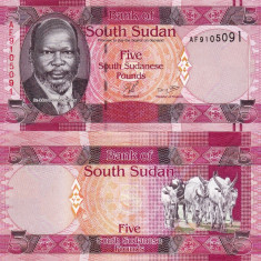 SUDANUL DE SUD 5 pounds 2011 UNC!!!