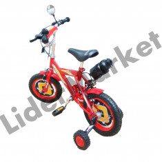 Bicicleta pentru copii complet accesorizata rosie - Bicicleta copii, 8 inch, 12 inch, Numar viteze: 1