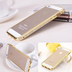 Bumper auriu aluminiu cu cristale Iphone 5 5G 5S + folie protectie ecran - Bumper Telefon, iPhone 5/5S, Argintiu