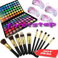 Trusa machiaj Mac Cosmetics fard 120 culori MAC + set 10 pensule kabuki Blending cadou Paste