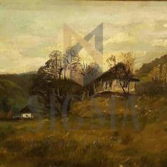 TABLOU, ION MARINESCU VALSAN, PEISAJ RURAL CU CASA, U/P - Pictor roman