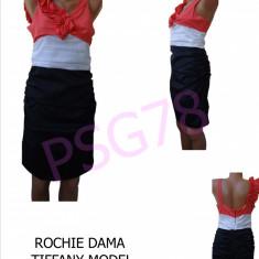 ROCHIE DAMA TIFFANY, MODEL DEOSEBIT, LIVRARE GRATUITA - Rochie office, Culoare: Din imagine, Marime: 38, 40, Midi, Fara maneca, Vascoza