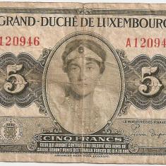 LUXEMBURG 5 FRANCI FRANCS ND (1944) F - bancnota europa
