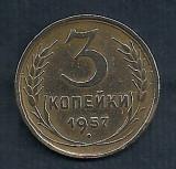 RUSIA URSS 3 COPEICI KOPEICI KOPEIKI 1957  [1]  livrare in cartonas, Europa, Cupru (arama)
