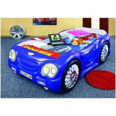 Pat Masina Copii Sleep Car - Plastiko - Albastru - Pat tematic pentru copii Plastiko, 180X80cm