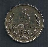 RUSIA  URSS  3  COPEICI    KOPEIKI 1969  [2]   livrare in cartonas, Europa, Cupru (arama)
