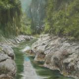 Peisaj de munte cu rau, pictura in ulei pe panza - Pictor roman, Peisaje, Altul