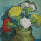 Garoafe multicolore in vaza, flori, tablou mic, pictura in ulei - Pictor roman, Peisaje, Altul