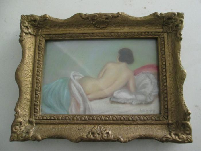 Nud intins pe canapea, pastel 1927 , tablou mic vechi