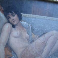 Nud pe canapea cu oglinda, tablou mic vechi, pictura veche Art Deco - Pictor roman, Peisaje, Ulei, Altul