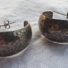 Cercei Argint executati manual prin tehnica loviturii de ciocan Vechi Vintage