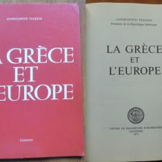 Autograful Presedintelui Greciei Constantin Tsatsos catre Valentin Lipatti, 1977 - Carte Editie princeps