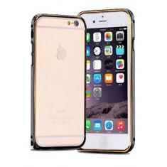 """Bumper metal negru margine auriu Iphone 6 Plus 5.5"""" + folie ecran"""