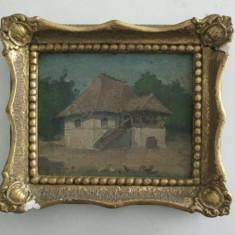 Casa la tara , pictura veche in ulei, semnat cu acul Necula, tablou mic vechi, Peisaje, Altul