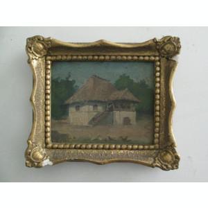 Casa la tara , pictura veche in ulei, semnat cu acul Necula, tablou mic vechi