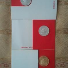 Lot 3 medalii 2005 (2 argint 900 la mie + 1 tombac), Sarbatori Paste, sigilate