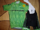 echipament ciclism complet Cannondale sosea verde set pantaloni tricou
