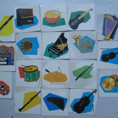 18 Carti de joc cu instrumente muzicale, de la joc romanesc vechi - Joc colectie