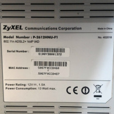 Router ZyXEL Model P-2612HNU-F1 - Router wireless Zyxel, Port USB, Porturi LAN: 4, Porturi WAN: 1