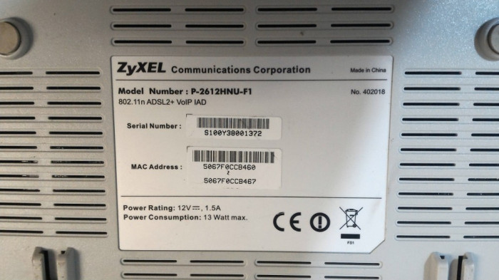 Router ZyXEL Model P-2612HNU-F1