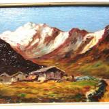 TABLOU 1933 PEISAJ MUNTE PICTURA ULEI PE PANZA RAMA SEMNAT A. MONET - Pictor strain, Natura, Realism