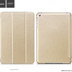 Husa / toc LUX piele fina HOCO Crystal, iPad MINI 4, smart cover, AURIU - Husa Tableta