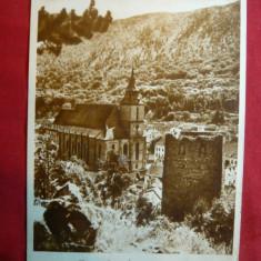 Ilustrata Orasul Stalin ( Brasov) -Biserica Neagra, circulat 1957 - Carte Postala Transilvania dupa 1918, Circulata, Printata
