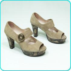 FRUMOSI → Pantofi dama, piele, decupati, cu platforma, SUZANNA → femei | nr. 38 - Pantof dama, Culoare: Bej, Piele intoarsa, Cu toc