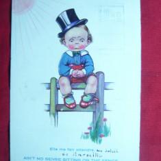 Ilustrata comica -Baietel cu Joben dezamagit in dragoste- piesa de autor, Belgia - Carte postala tematica, Circulata, Printata