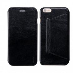Husa piele fina HOCO Crystal iPHONE 6 PLUS, 6S PLUS, flip lateral, NEGRU - Husa Telefon Hoco, Cu clapeta