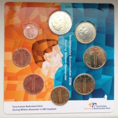 Set 8 monede euro OLANDA 2016, KMS - noul rege Alexander, Europa, Cupru-Nichel