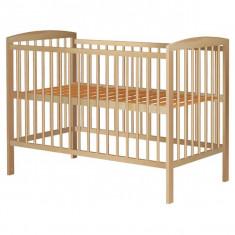 Patut Copii Din Lemn Hubners Anzel 120X60 Cm Natur - Patut lemn pentru bebelusi Hubners, Maro