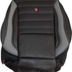 Huse scaune auto imitatie piele perforata LUX Negru + Gri - Husa scaun auto