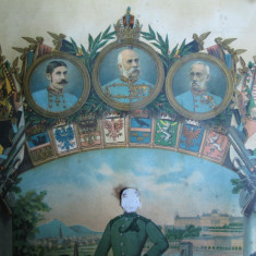 Litografie veche Franz Josef, Imparat al Austriei, Rege al Ungariei, soldat WW1