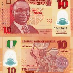 NIGERIA 10 naira 2010 polymer UNC!!! - bancnota africa