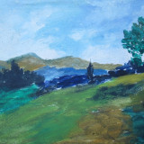 Peisaj, pictura veche in ulei - Pictor roman, Flori, Altul