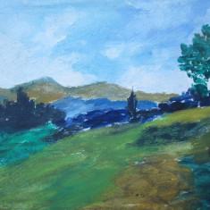 Peisaj ,  pictura veche in ulei, Flori, Altul
