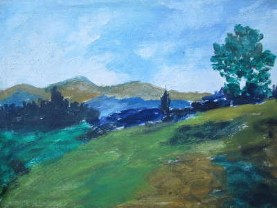 Peisaj ,  pictura veche in ulei foto