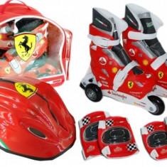 Set Role Cu Accesorii Protectie Incluse Saica Ferrari Marimi Reglabile 31-34, Patine cu rotile