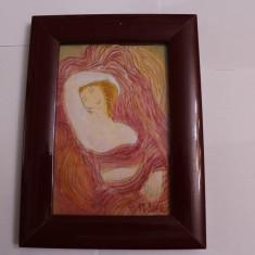 TABLOU VECHI CU RAMA DE LEMN-SEMNAT-PISTELLE-D=14X18 CM - Pictor strain, Portrete, Tempera, Art Nouveau