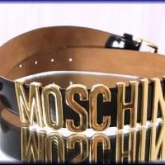 CURELE MOSCHINO IMPORT ITALIA, LOGO METALICE AURII - Curea Dama Moschino, Marime: Masura unica, Alta, Culoare: Alb, Negru