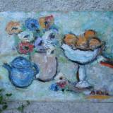 Natura statica, flori fructe si ceainic pictura in ulei - Pictor roman, Altul