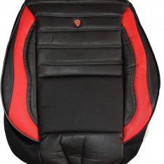 Huse scaune auto imitatie piele perforata LUX Negru + Rosu - Husa scaun auto