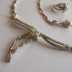 Set argint cu zirconii albe -inel, bratara si colier - 52 - Set bijuterii argint