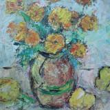 Natura statica, flori in ulcica si gutui, pictura in ulei - Pictor roman, Altul