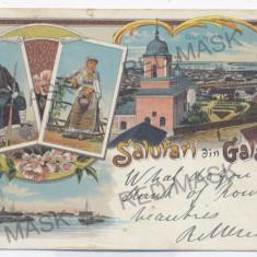 2270 - L i t h o, GALATI - old postcard - used - 1898 - Carte Postala Moldova pana la 1904, Circulata, Printata