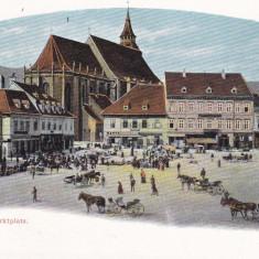 BRASOV, PIATA, KRONSTADT, MARKTPLATZ, CLASICA - Carte Postala Transilvania pana la 1904, Necirculata, Printata